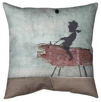 """East Urban Home Rodeo Cowboy Kid Pillow Size: 26"""" x 26"""", Cover Material: Poly Twill"""