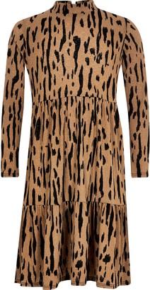 River Island Girls Beige leopard printed midi smock dress