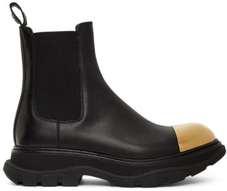 Alexander McQueen Black and Gold Shiny Toe Chelsea Boots
