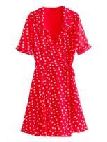 Goodnight Macaroon 'Harley' Polka Dot Flare Wrap Dress (2 Colors)
