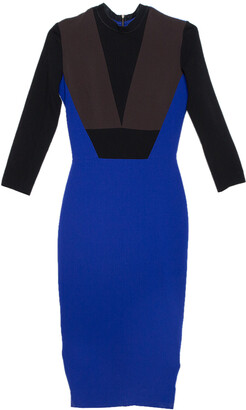 Victoria Beckham Color Block Crepe Sheath Dress S