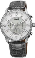 Burgi Women's BUR089GY Silver Chronograph Quartz Watch with White Mother of Pearl and White Dial With Gray Leather Strap