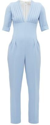Emilia Wickstead Bella Pleated Bodice Wool-crepe Jumpsuit - Light Blue