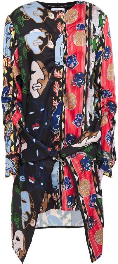 Carven Draped Patchwork-effect Silk-twill Mini Dress