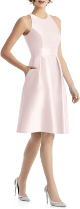 Alfred Sung Jewel Neck Satin Cocktail Dress