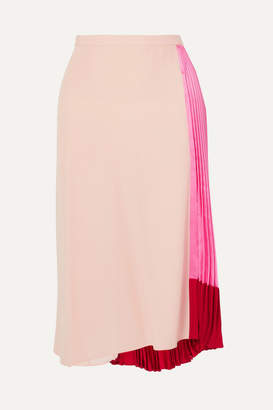 Marni Pleated Color-block Satin And Crepe Skirt - Pink