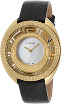 Versace VC404-0014 Women's Black Genuine Leather MOP Dial Gold-Tone SS