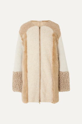 Stella McCartney Oversized Patchwork Faux Fur And Faux Shearling Coat - Camel