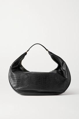 STAUD Sasha Croc-effect Leather Shoulder Bag - Black