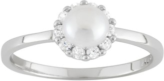 Junior Jewels Freshwater Cultured Pearl & Cubic Zirconia Sterling Silver Halo Ring - Kids