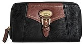 Bolo Women's Faux Leather Wallet with Back/Interior Compartments and Zipper Closure - Black/Walnut
