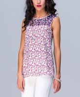JET Purple & White Abstract Sleeveless Top
