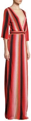 M Missoni Textured Stripes Plunging Maxi Dress