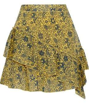 Derek Lam 10 Crosby Ruffled Floral-print Cotton-jacquard Mini Skirt