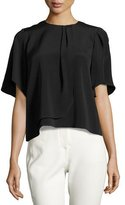 Halston Short-Sleeve Draped-Front Top, Black