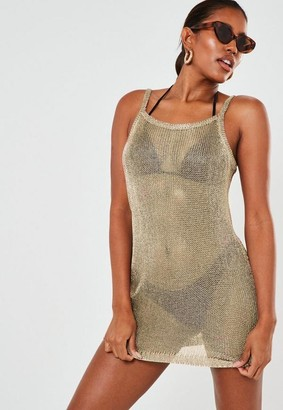 Missguided Gold Metallic Square Neck Cami Beach Cover Up Dress