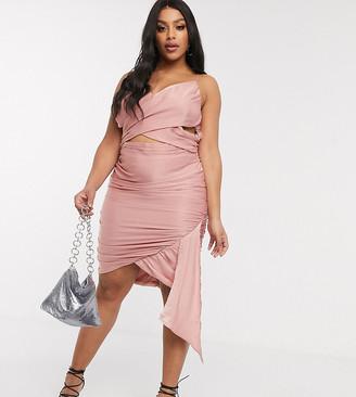 Pretty Darling Plus drapey wrap detail mini dress