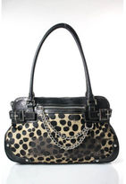 Rafe Black Brown Leather Calf Hair Animal Print Medium Satchel Handbag DUST BAG