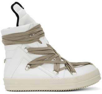 Rick Owens White Geo Basket High-Top Sneakers