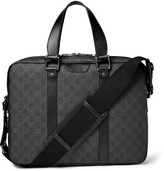 Gucci GG Suprema Leather-Trimmed Coated-Canvas Briefcase