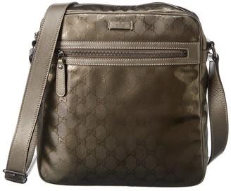 Gucci Brown Metallic Imprime Large Messenger Bag
