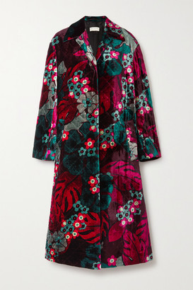 Dries Van Noten Floral-print Quilted Velvet Coat - Fuchsia