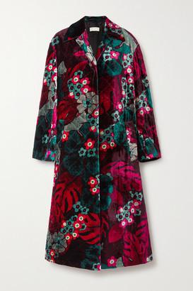 Dries Van Noten Quilted Floral-print Velvet Coat - Fuchsia