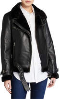 LAMARQUE Zoe Leather Jacket with Faux Fur Trim
