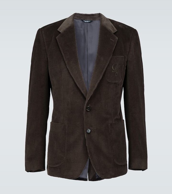Thumbnail for your product : Dolce & Gabbana Corduroy blazer with logo