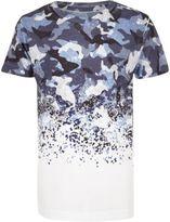 River Island Boys blue faded camo T-shirt
