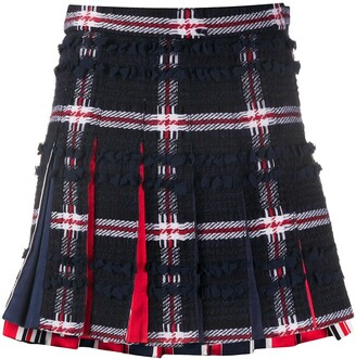 Thom Browne Pleated Checked Mini Skirt