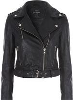 Jane Norman Black Belted Leather Jacket