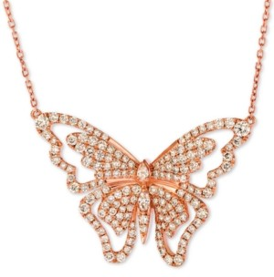 """LeVian Le Vian Butterfly Away Nude Diamond 16"""" Pendant Necklace (2-3/4 ct. t.w.) in 14k Rose Gold"""