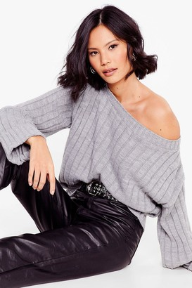 Nasty Gal Womens That's the Cuff Ribbed Knit Sweater - Grey