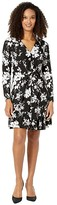 MICHAEL Michael Kors Tropical Bib Long Sleeve Dress (Black/White) Women's Dress