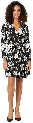 MICHAEL Michael Kors Tropical Bib Long Sleeve Dress (Black/White) Women's Dress