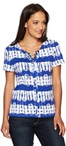 Rafaella Women's Petite Size Summer Tie Dye Lace up Top