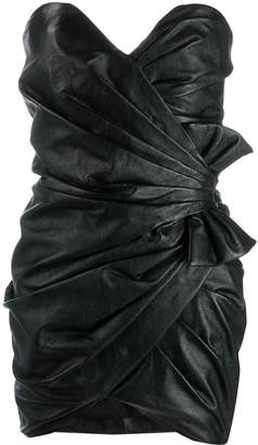 Saint Laurent strapless draped fitted dress