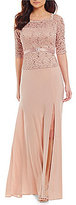 R & M Richards Off-the-Shoulder 3/4 Illusion Sleeve Lace Gown