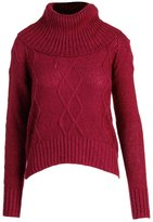 OHMG! Oh MG! Womens Juniors Cable Knit Cowl Neck Pullover Sweater Red XL