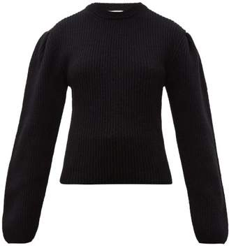 Lemaire Box Pleat Ribbed Wool Sweater - Womens - Black