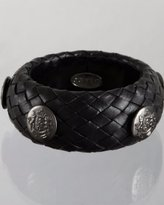 black woven leather crest button bangle