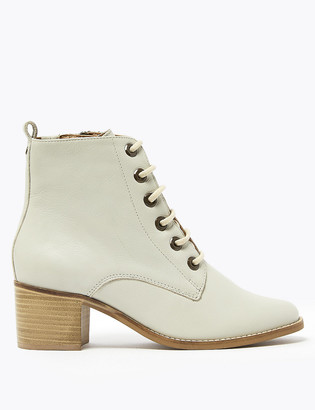 Marks and Spencer Leather Lace Up Block Heel Ankle Boots