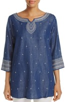 Nic+Zoe Embroidered Denim Tunic