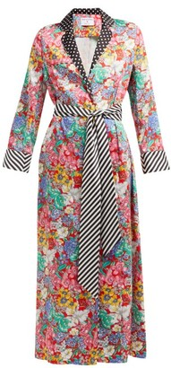 Racil X Aquazzura Amalfi Belted Floral-print Satin Dress - Multi