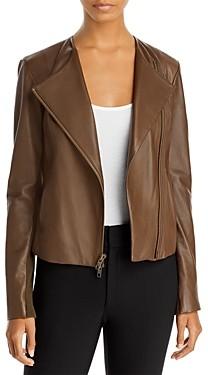 Vince Rib Panel Leather Jacket