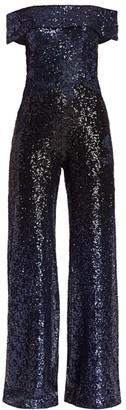 Rene Ruiz Collection Off-the-Shoulder Sequin Jumpsuit