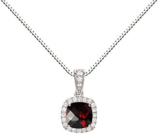 Fine Jewelry Womens Genuine Red Garnet Sterling Silver Round Pendant Necklace