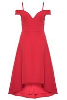 Quiz Red Sweetheart Neck Strappy Bardot Dress