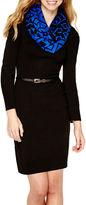 My Michelle Long-Sleeve Sweater Dress with Diamond Print Scarf- Juniors
